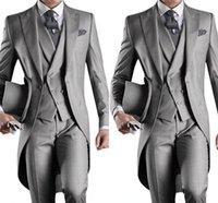 mavi sabah toptan satış-Yeni Slim Fit Sabah Stil Damat Smokin Yaka erkek Takım Elbise Lacivert Sağdıç / İyi Adam Düğün / Balo Takımları (Ceket + Pantolon + Yelek) HY6019