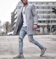 lange wolle mantel männer groihandel-Winter Fashion Designer Woll Mantel Men Plus Size Outwear Schwarz Warm Männer lange Blazer Mäntel Büro Overcoat
