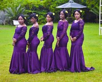 Wholesale off white long lace dress for sale - Group buy Purple Off The Shoulder Satin Mermaid Long Bridesmaid Dresses African Lace Top Formal Party Wedding Guest Maid Of Honor Dresses BM0922