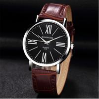 мужские наручные часы оптовых-Fashion Mens Watches Korean Trend Retro Simple Men Women Watch Leather Belt Couple Waterproof Clock Roman Digital Business Watch