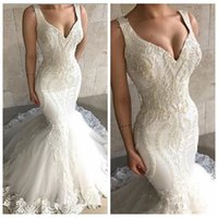 Wholesale feather trumpet wedding dress for sale - Group buy 2019 Gorgeous Slim Mermaid Wedding Dresses Lace Appliques With Feather Adorned Bridal Gowns Formal Spring Long Vestidos De Novia Custom