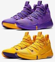 sapatos roxos online venda por atacado-Hot Kobe AD Lakers sapatos de ouro roxo para vendas frete grátis 2019 Online sports basketball shoes store 40-46