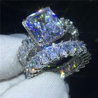 conjuntos de la venda de la boda de los hombres al por mayor-Princesa completa corte Conjuntos de anillos de Promesa 925 anillos de la venda de boda de Compromiso de plata de ley para mujeres hombres Dedo regalo de la joyería