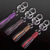 çıkarılabilir anahtarlık halkası toptan satış-Eğilim Deri Örgülü Anahtarlık Kadın Erkek Araba Anahtarı Kolye Anahtarlık Çift Yaratıcı Kişilik Anahtarlıklar 5 Renkler Ayrılabilir Anahtarlıklar M561F