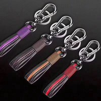Wholesale detachable keychains for sale - Group buy Trend Leather Braided Keychain Women Men Car Key Pendant Key Ring Couple Creative Personality Keychains Colors Detachable Keyrings M561F