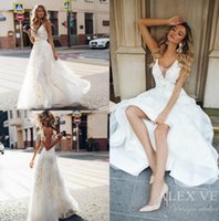Wholesale simple lace bridal wedding dress online - 2019 Boho Wedding Dresses V Neck Backless Lace Bridal Gown With D Appliqued A Line Beach Bohemian Simple See Through Wedding Dress Custom