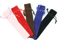 Velvet Pen Pouch Holder Single Pencil Bag Pen Case Rope Locking Gift Bag 5 colors mixed wholesale
