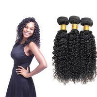 natürliche afro haar curl weben großhandel-Brasilianische Jerry Curl Echthaarwebart 1/3/4 Bundles Deal Naturschwarz Nicht Remy Afro Kinky Curly Hair Bundles