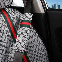 cubre reposacabezas para coches al por mayor-1 par de cáñamo coche de la fibra del cinturón de seguridad et cubrir Hombreras cojín del asiento del cinturón de protección del niño apoyo para la cabeza del cinturón de seguridad Accesorios para automóviles
