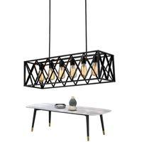 ingrosso illuminazione industriale vintage europe-Lampada a sospensione vintage rettangolo per sala da pranzo Lampada a sospensione industriale nera per lampade a LED stile Bar