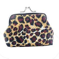 ткань для печати кошелька оптовых-Naivety Canvas Leopard Printing Coins Purses Floral Prints Coin Purse Fabric Wallet Hasp Mini Bag Key Carrying Bag