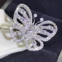 ingrosso farfalla bianca d'argento-Nuovo arrivo Stunning Luxury Jewelry Shinning 925 Sterling Silver Pave White Sapphire CZ Diamond Promise anelli Wedding Butterfly Band Ring