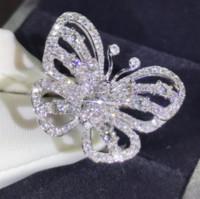 parlayan düğün yüzükleri toptan satış-Yeni Varış Çarpıcı Lüks Takı Shinning 925 Ayar Gümüş Açacağı Beyaz Safir CZ Elmas Promise Yüzükler Düğün Kelebek Band Yüzük