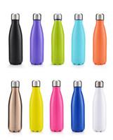 ingrosso plastica della bottiglia di coke-Bottiglia di acqua a forma di cola Isolata Doppia parete Vuoto Heath-sicurezza BPA Bottiglia in thermos ad alta luminanza in acciaio inossidabile gratuito 500 ML 20 pezzi