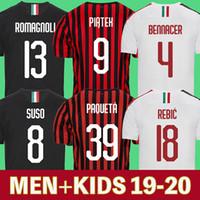 maillot jersey fußball großhandel-AC Milan 19 20 Fußball Trikots 2019 2020 AC Milan Fußball-Shirt BONUCCI KESSIE ANDRE SILVA CONTI Camisa CALHANOGLU KALINIC BONAVENTURA maillot