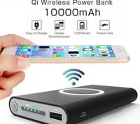 ingrosso qi wireless potenza universale-Caricatore senza fili della Banca di potere portatile universale di 10000mAh per iPhone 8 Caricatore senza fili del telefono cellulare di Samsung S6 S7 S8 Powerbank