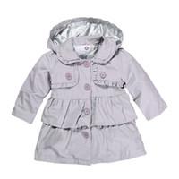 ingrosso cappotti da bambino tench-Kids Girl Tench Coats Newborn Baby Girl Outwear Kids Designer Abbigliamento Ragazze con cappuccio manica lunga pizzo Button Solid 6