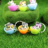 ingrosso ornamenti giardino gatti-12 pz / lotto Terrari in miniatura Fairy Garden Decorativa in resina Cat Figurine regalo artigianale Ornamento Terrario accessori