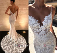 Wholesale sexy backless wedding dresses for sale - 2019 New Arrival Mermaid Wedding Dresses Long Lace Applique Spaghetti Straps Bohemian Bridal Gowns Plus Size Robe de mariée en dentelle