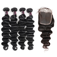 Wholesale loose weave human hair closure for sale - Good A Brazilian Hair Deep Loose Hair Extensions Bundles with x4 Lace Closure Loose Deep Human Hair Weave Extensions Price
