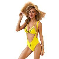 weißer taillierter bikini großhandel-Frauen Bikini 2019 Bademode Hohe Taille Reißverschluss Push Up Gepolsterte Weiß Bikini Badeanzüge Frau Badeanzug Set XL
