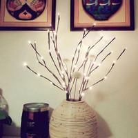 освещенный рождественский цилиндр оптовых-Ёлочные украшения стразов светодиодные лампы ветви ивы Цветочные огни 20 Лампочки Главная Рождественская вечеринка Garden Decor