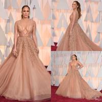 elie saab nackt tulle großhandel-Oscars Roter Teppich Perlen Abendkleider Jennifer Lopez In Elie Saab Celebrity Dress Perlen Nude Tüll Applizierte Backless Abendkleid