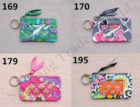 Wholesale design purses handbags resale online - Retro Pastoral Floral Card Bag Women VB Zip Coin Purse Girls ID Card Holder Key Ring Brand Design Handbags Totes Mini Cotton Pouch C110704