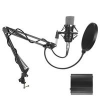 крепление для микрофона оптовых-BM 700 Студийный звукозаписывающий конденсаторный микрофон с подвесным кронштейном Подвеска и поп-фильтр для записи на портативный компьютер ПК