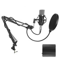 Wholesale microphone suspension resale online - BM Studio Recording Condenser Mic Microphone with Suspension Arm Stand Shock Mount and Pop Filter for PC Laptop Computer Recording