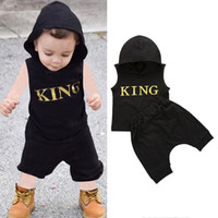 Wholesale baby clothing outfits for sale - kids designer clothes boys outfits children letter KING Hooded tops shorts set Summer fashion baby Clothing Sets C6765