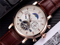 Wholesale best watch diamonds mens resale online - quality watch mens watches designer mechanical automatic watch Genuine Leather strap Diamond dial daydate Moon Phase watch for best Gift