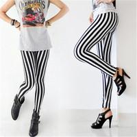 dikey tozluklar toptan satış-Kadınlar Seksi Yeni Lady Moda Skinny Chic Bak Dikey Tayt Siyah ve Beyaz Spandex Zebra Şerit Pantolon Sıcak Sıcak Öğe