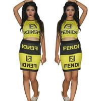 blok renk elbiseleri toptan satış-2019 FF Marka Kadınlar Tasarımcı Kısa Etek Set Yaz Şort Elbiseler Eşofman Tankı Kırpma Üst + Etek Bodycon Renk Bloğu Elbiseler A52306 Fends
