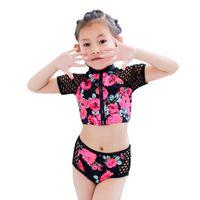 üç çocuk kız bikini toptan satış-2019 Yeni bebek mayo Yürüyor Çocuk Bebek Kız üç pices Kısa Kollu Çiçek Havuzu Plaj Mayo Bikini Setleri 5.28