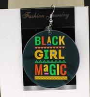 очаровательная фотография девушки оптовых-Black Girl Magic серьги афро Персонализированные Пользовательские Афро Африка Серьги Подвески 2-сторонняя Пользовательский Логотип Текстовое Изображение