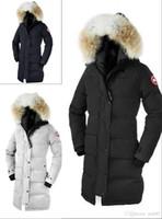 ingrosso giacca lusso-Inverno di lusso all'aperto Canada lungo tratto ispessimento caldo moda piumino giacca con cappuccio goos da donna Nero blu navy rosso piumino Outlet