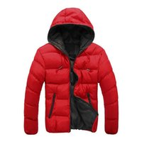 красное мягкое пальто оптовых-2018 New  Winter Jacket Mens Hooded Coats Casual Mens Thick Coat Male Casual Cotton Padded Outerwear Solid Full Size Red