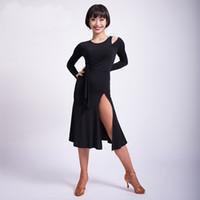 sexy langarm kostüm großhandel-Moderner Ausschnitt Langarm Placketing sexy Latin Dance Einteiliges Kleid für Frauen Ballsaal Kostüme Flamengo trägt M3178
