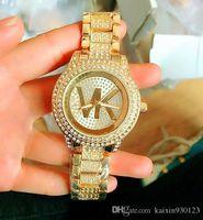 marcas de relojes de pulsera de las mujeres al por mayor-Moda de lujo Marca de fábrica famosa Reloj de pulsera Señoras reloj de pulsera de lujo Reloj de diamantes Mujer Relojes de oro rosa Reloj de cuarzo analógico estrella