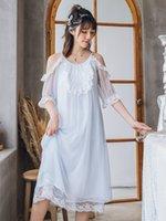 süße nachthemden großhandel-Princess Sweet Lolita nightgowns dünne Baumwolle Princess Nachthemd mit sexyen Schulterbügeln Nightgown mit Spitze Bildschirm QQ0163