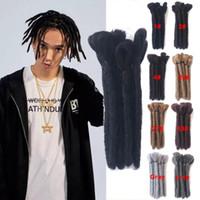 estilos de trança para cabelos negros venda por atacado-Dreads Curto Dreadlocks Artesanais 15 CM-30 CM Extensões de Cabelo Preto Reggae Cabelo Estilo Hip-Hop Cabelo Trança Sintética Para Homens