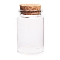 ingrosso bottiglie di goccia vuote-Vasi di bottiglie vuote di vetro calde di vendita 30 * 40MM 15ML con i tappi del sughero per il contenitore decorativo di goccia del contenitore di DIY - Trasparente