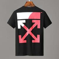 división t shirts al por mayor-19ss men SPLIT LOGO S / S Camiseta de manga corta en color negro con logo Off dividida en top blanco y rojo para hombre Camisetas blancas de mujer 128