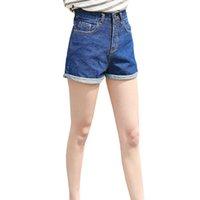 desgaste das mulheres coreanas das calças de brim venda por atacado-Plus Size S-XL 2019 Moda Estilo Coreano Mulheres Denim Shorts Do Vintage de Cintura Alta Cuffed Jeans Shorts Street Wear Sexy Slim