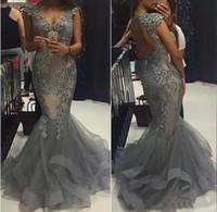 kraliçe satışları toptan satış-Sıcak Satış Lüks Gümüş Abiye giyim Uzun Mermaid Organze Anne Kraliçe Boyun Çizgisi Cap Kollu Keyhole Geri Aplike Boncuklu Gelinlik Modelleri
