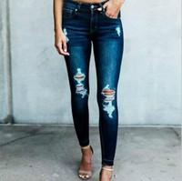 jeans denim mujer azul oscuro al por mayor-2019 Nueva oscuro pantalones tejanos pancil mujeres de la alta cintura delgada Agujero rasgado Denim Jeans Stretch Pantalón ajustado Casual Jeans