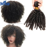 Wholesale hair dyed product resale online - Brazilian Kinky Curly Human Hair Weave Bundles MikeHAIR Products Remy Human Hair Weft Natural Black Color Full Cuticle Can be Dyed