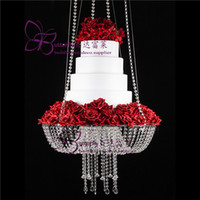 Wholesale ship hanging swing resale online - 18 inch Crystal Chandelier Style Drape Suspended Swing cake stand round hanging cake stands wedding centerpiece
