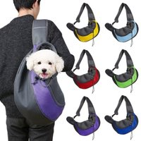 Wholesale cloth dog carriers resale online - Mesh Polyester Small Dog Carrier Comfort Pet Cat Puppy Travel Tote Faux Leather Shoulder Bag Sling Backpack Outdoor Travel for Dogs